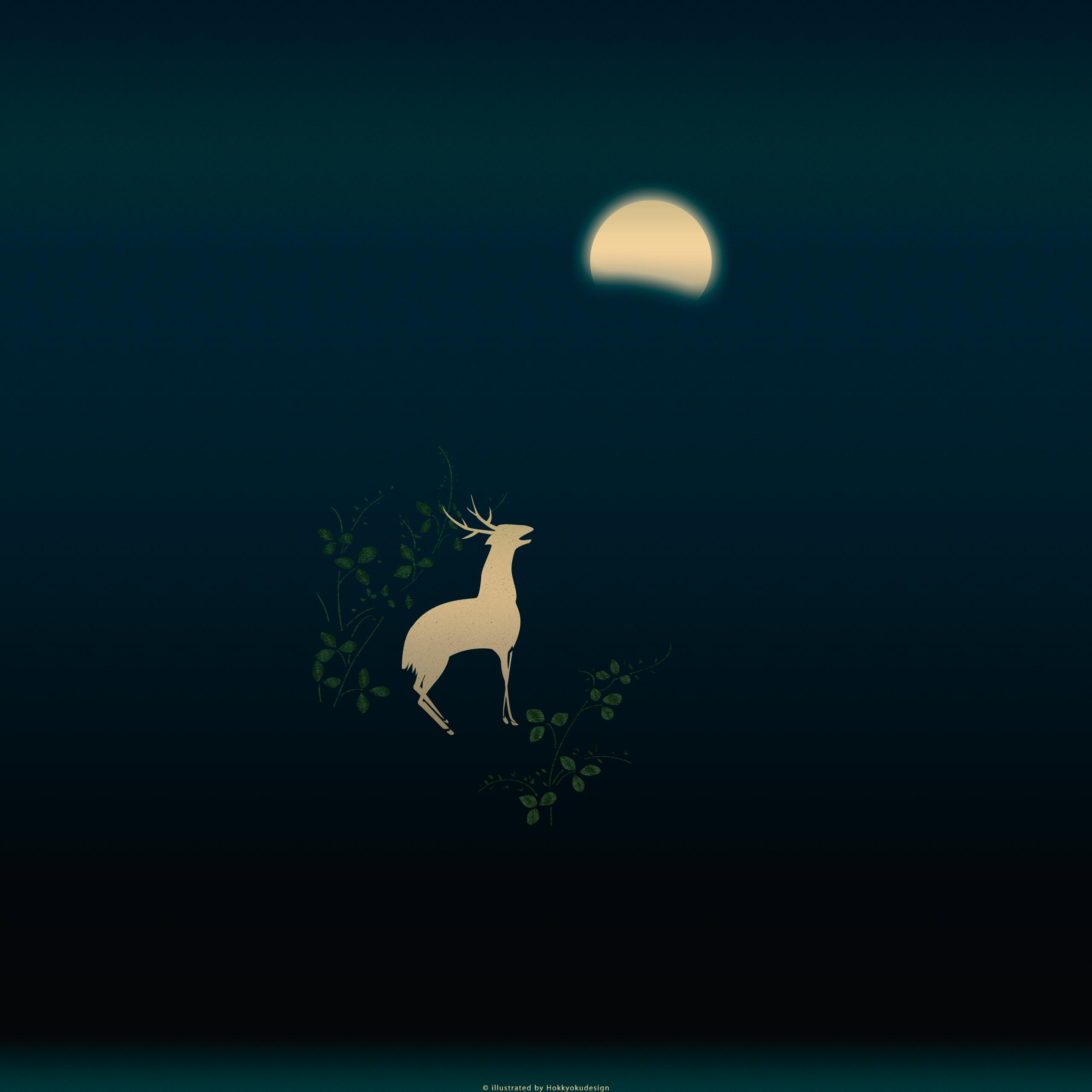 和風壁紙 月に萩鹿図 真夜中 Wallpaper Of Japan Hagi Deer