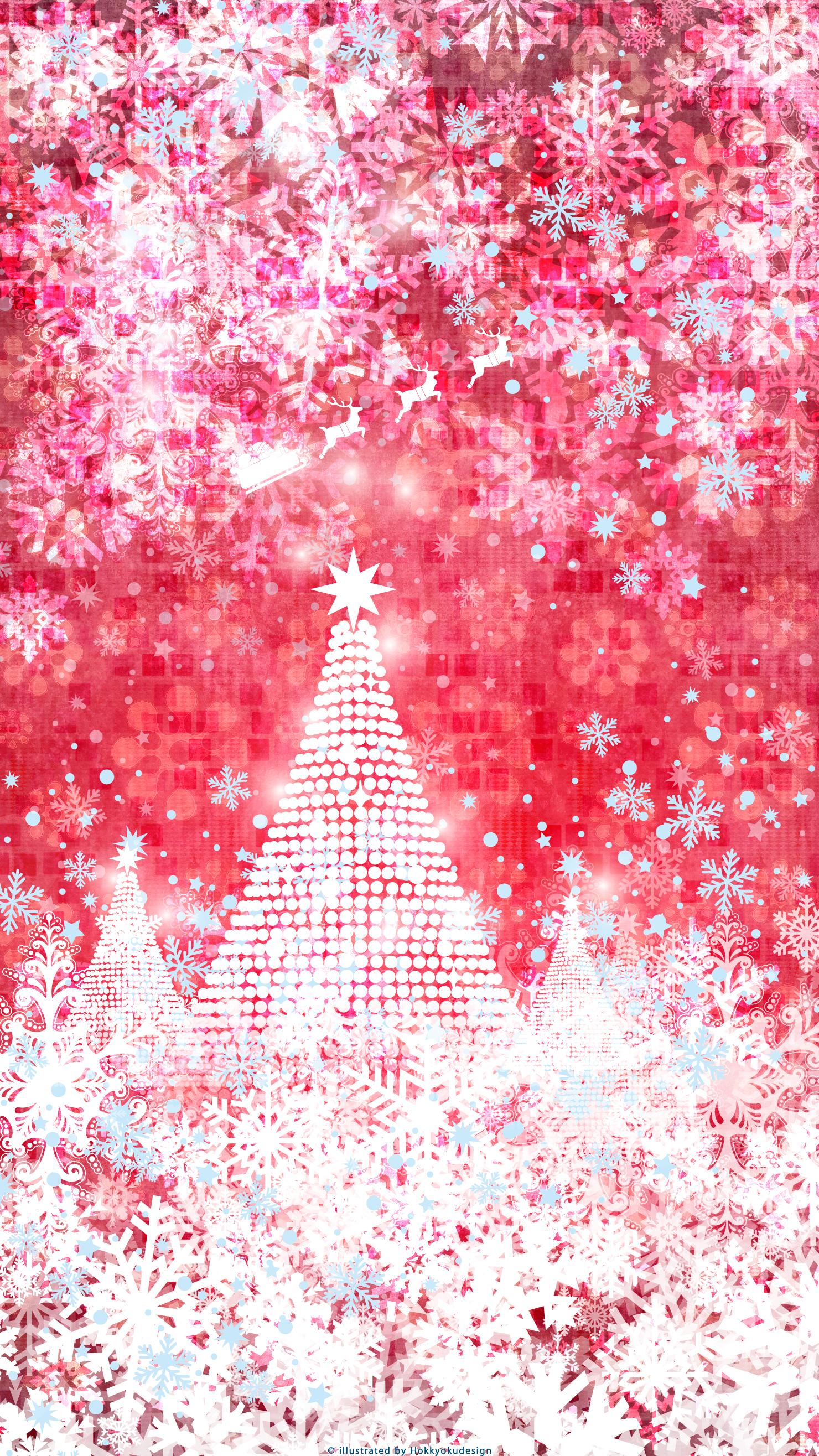 Iphone Christmas Wallpaper Tree Snowflake Santa Claus Red